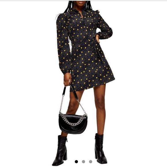 Topshop mustard spot dress